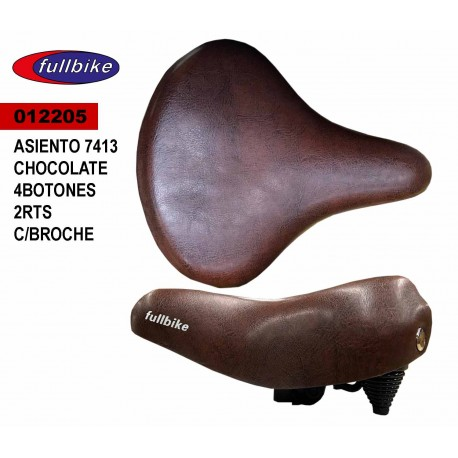 (012205) ASIENTO 7413 CHOCOLATE 4 BOTONS 2 RTS CON BROCHE FULLBIKE